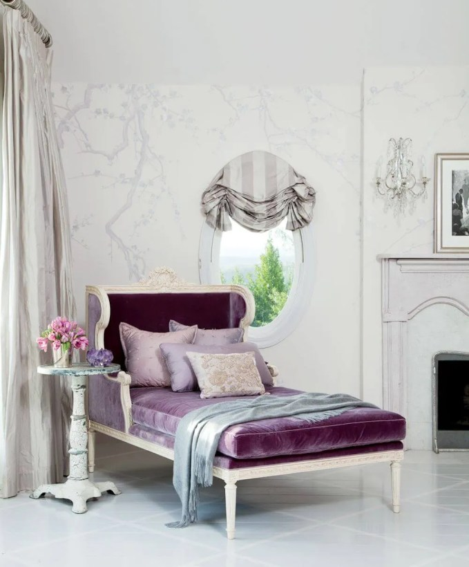 Purple Velvet Chaise Lounge Chair