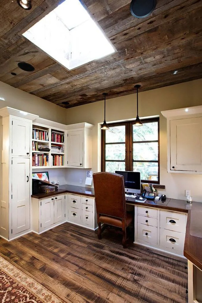Shabby Chic Home Office with Skylight