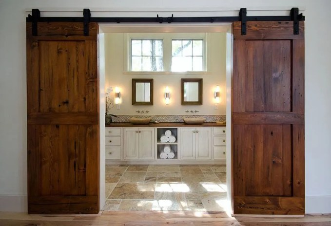 Charming Barn Doors in Master bathroom