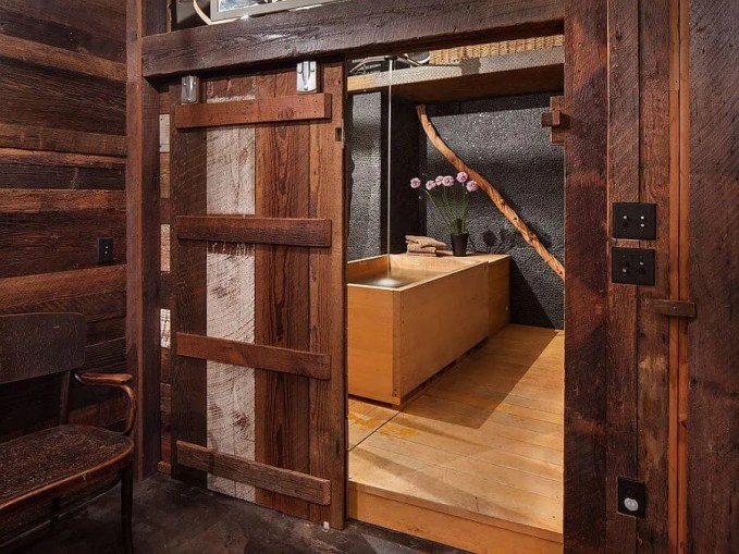 Japanese Bathroom with Rustic Sliding Barn Door