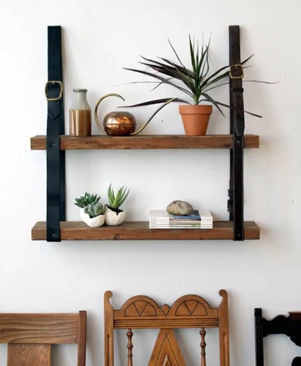 letter straps hanging bookshelf