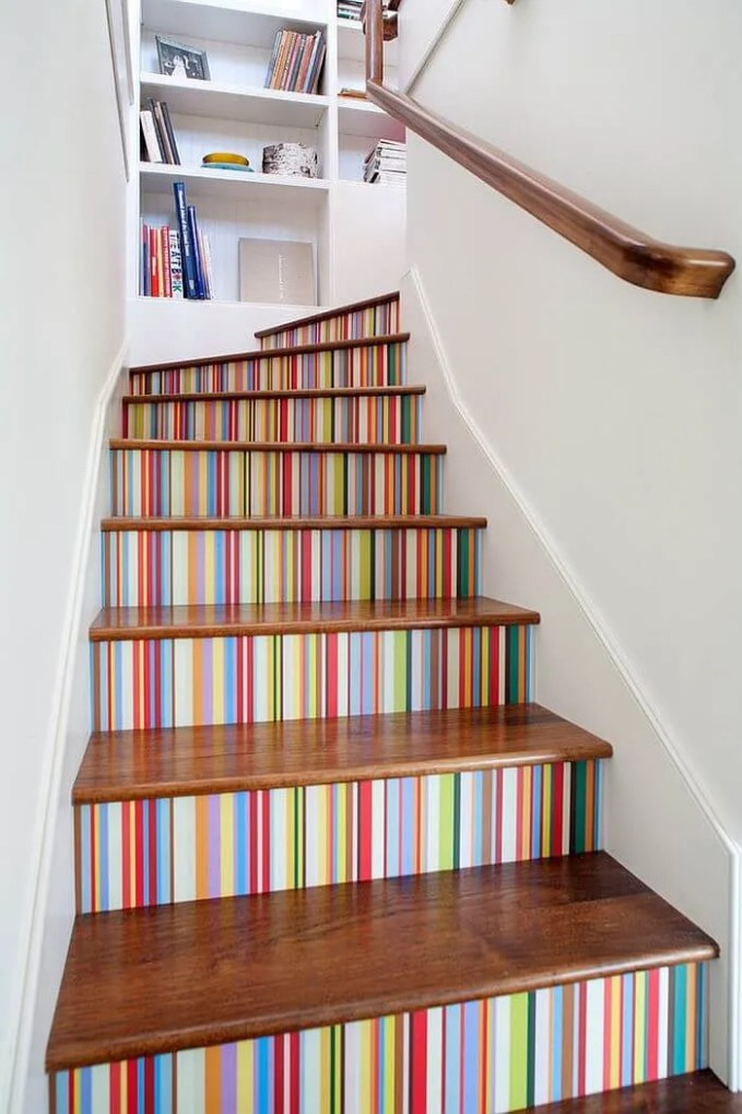 Multi Color Striped stairway