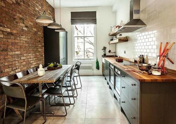 Narow Contemporary Industrial Kitchen Design