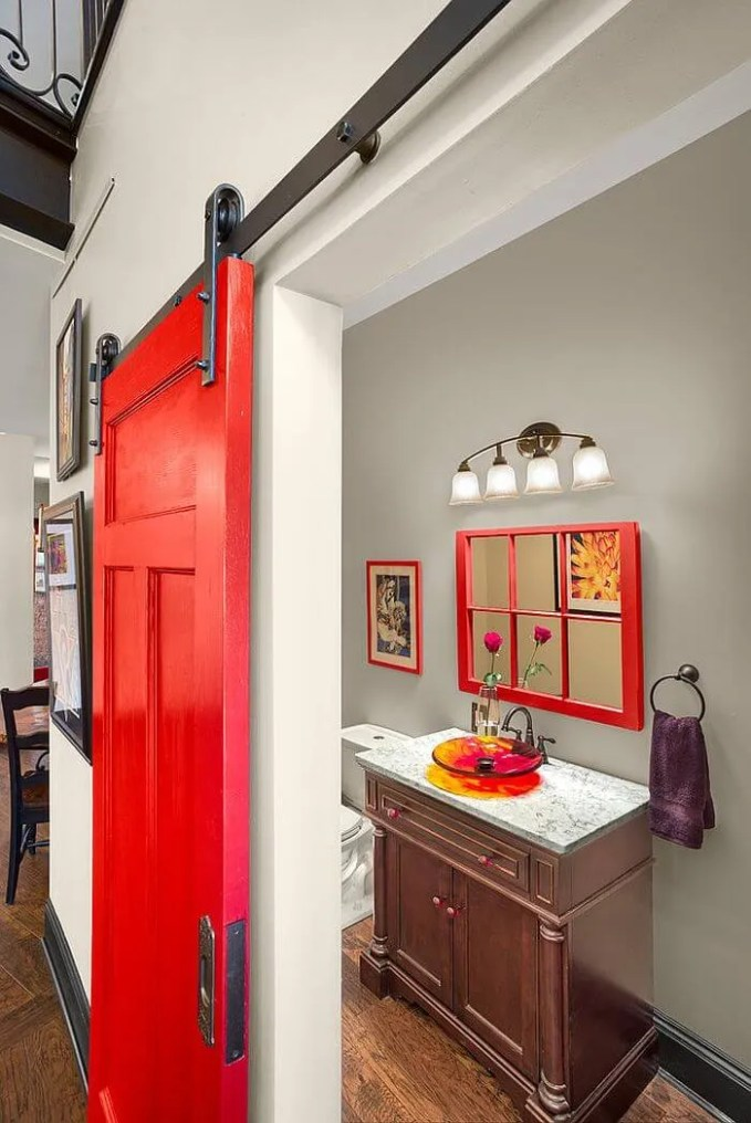 Small Bathroom with Red Barn Door