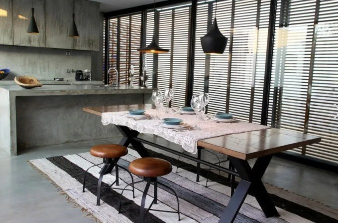 Wood and Metal Dining Stools