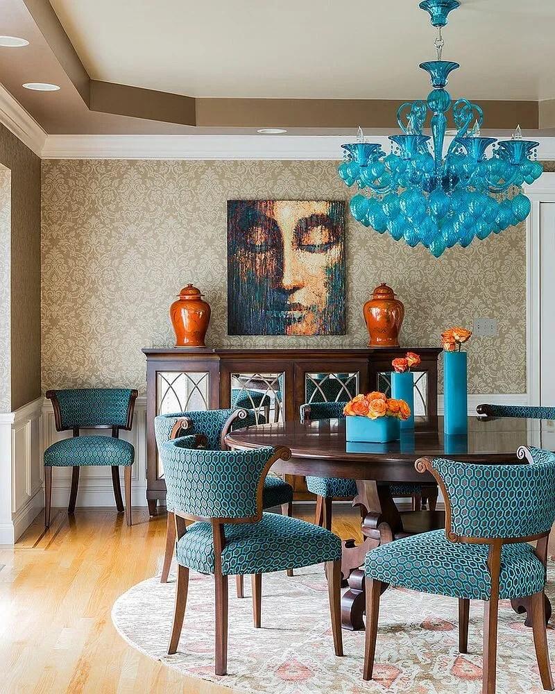 Bold  Blue Dining Room