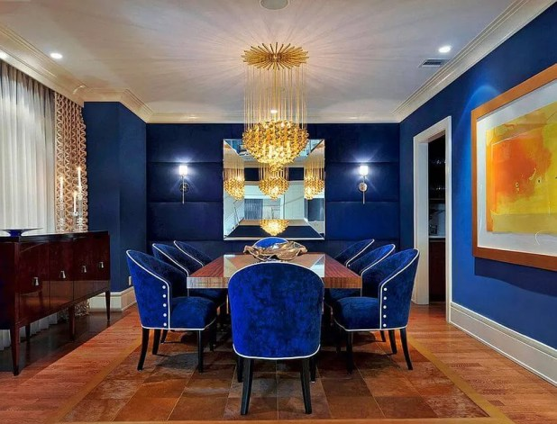 Splendid Navy Blue Dining Room