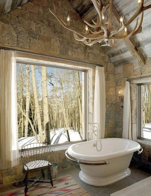 Tall Rustic Bathroom