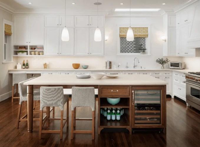 White and wood kitchen island
