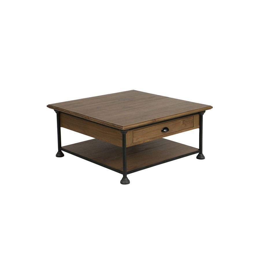 table basse carree industrielle en pin massif atelier