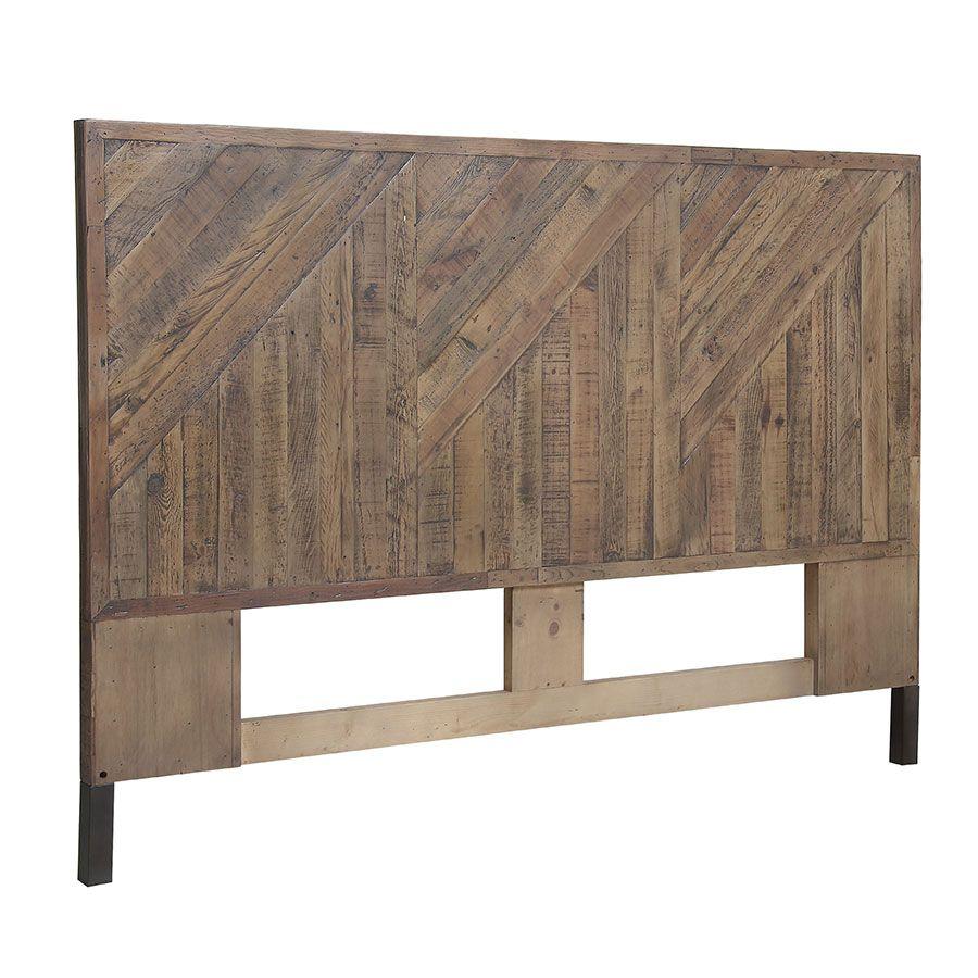 tete de lit 140 160 cm industrielle en bois recycle empreintes