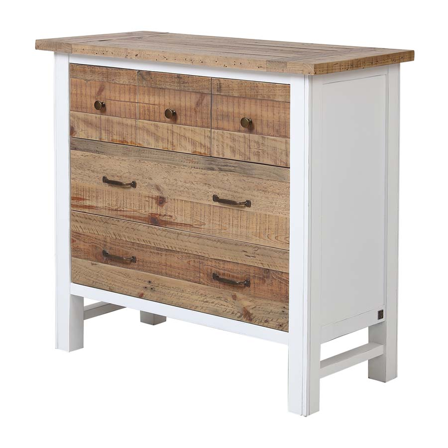 commode 5 tiroirs en bois recycle blanc rivages