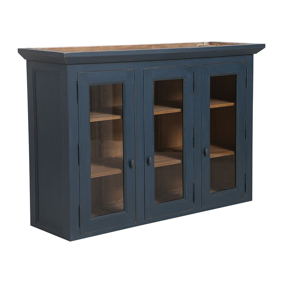 haut de buffet vaisselier 3 portes vitrees en pin bleu grise vieilli brocante