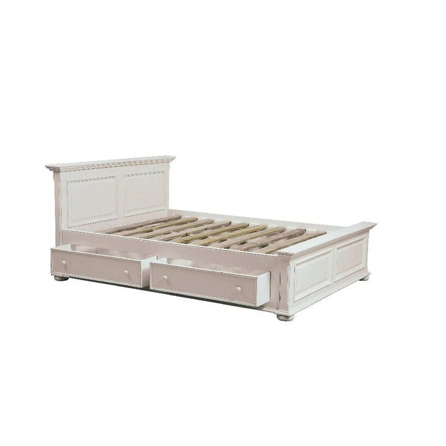 lit 140x190 avec tiroirs en bois blanc satine harmonie
