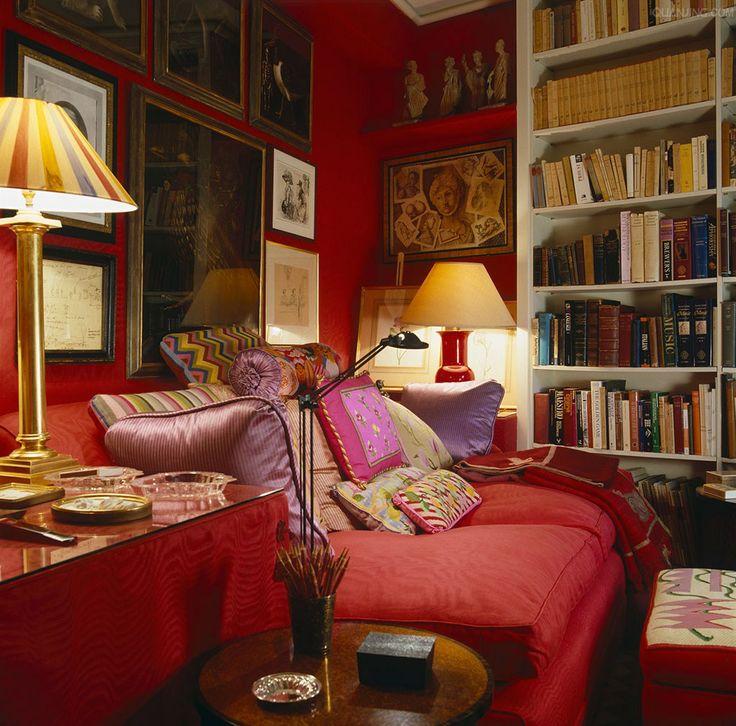 John Stefanidis English Library Interiors By Color