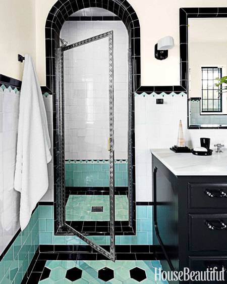 Green And Black Retro Bathroom Interiors By Color