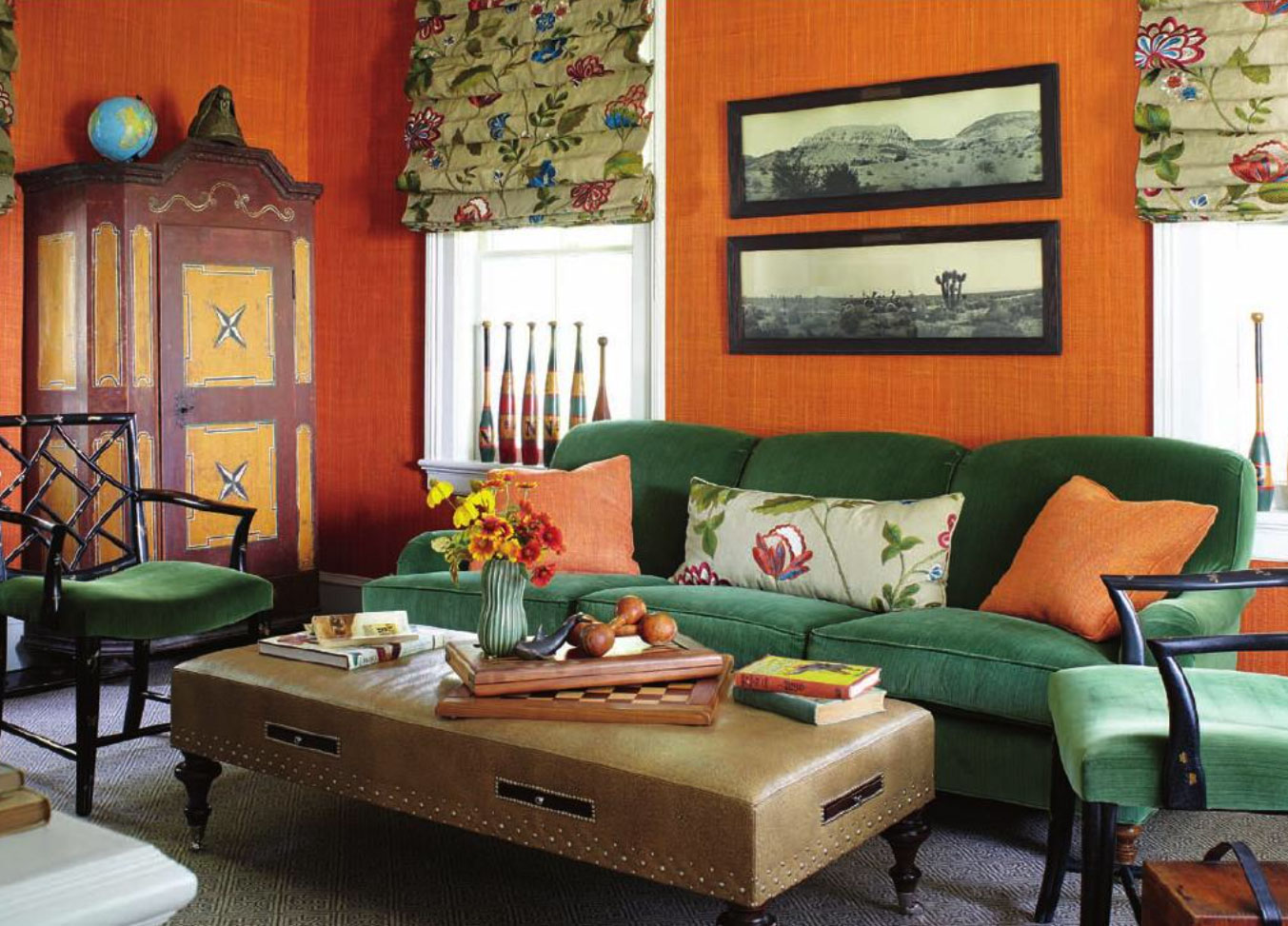Orange Glasscloth And Green Velvet Interiors By Color