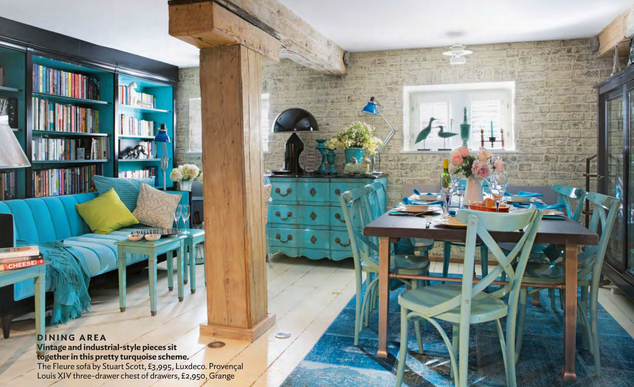 Industrial And Antique Turquoise Themed Living Interiors