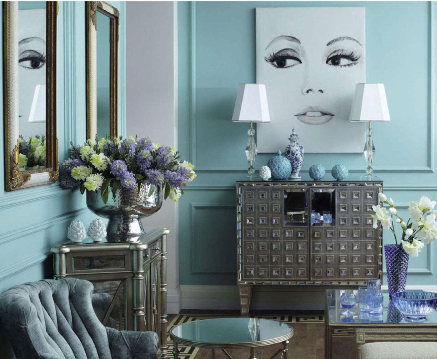 Pastel Blue Living Room Interiors By Color