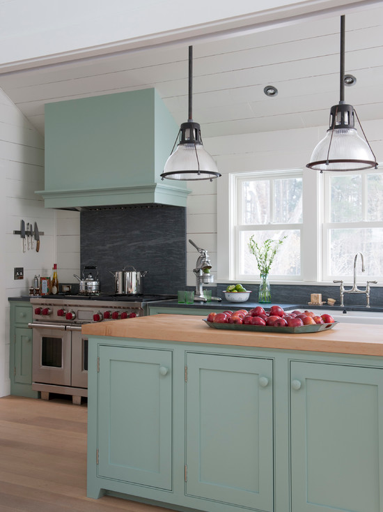 Blue Green Kitchen Cabinets Interiors By Color