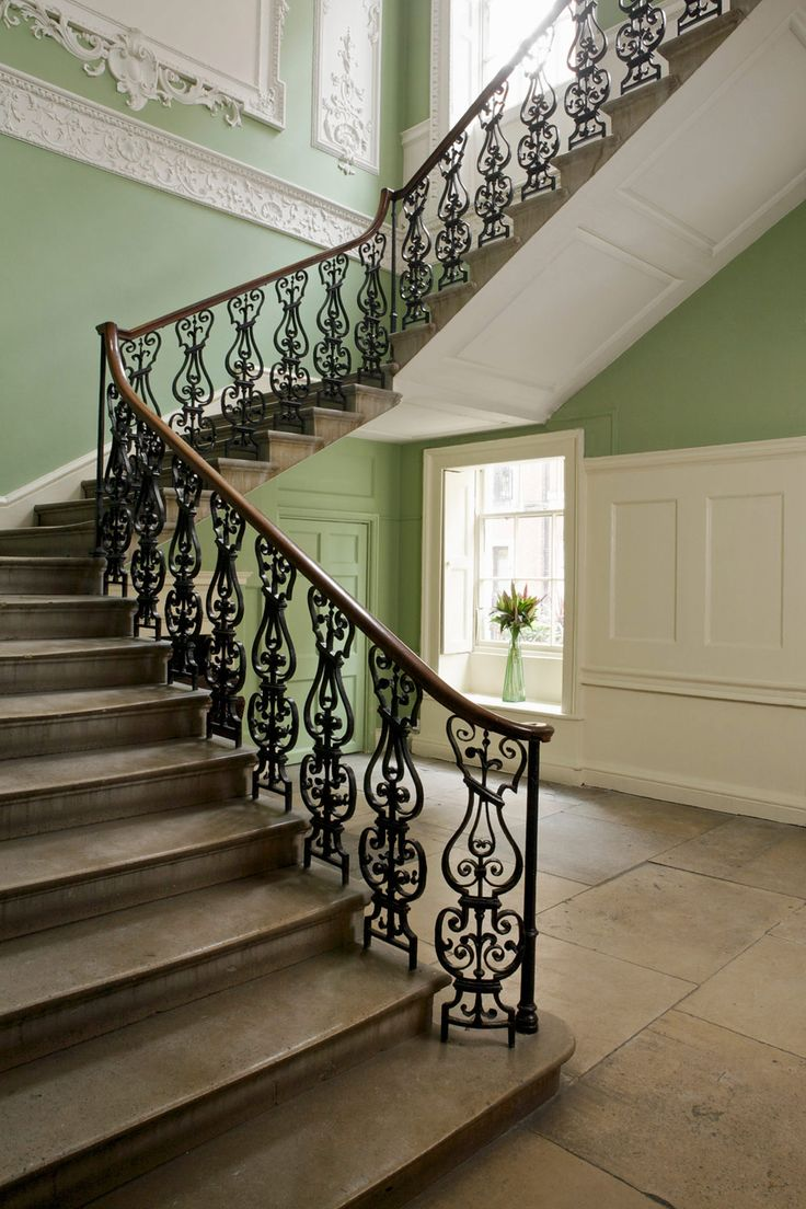 It is worth to be noted that grey. Hall and Stairs in Farrow & Ball Saxon Green and Clunch