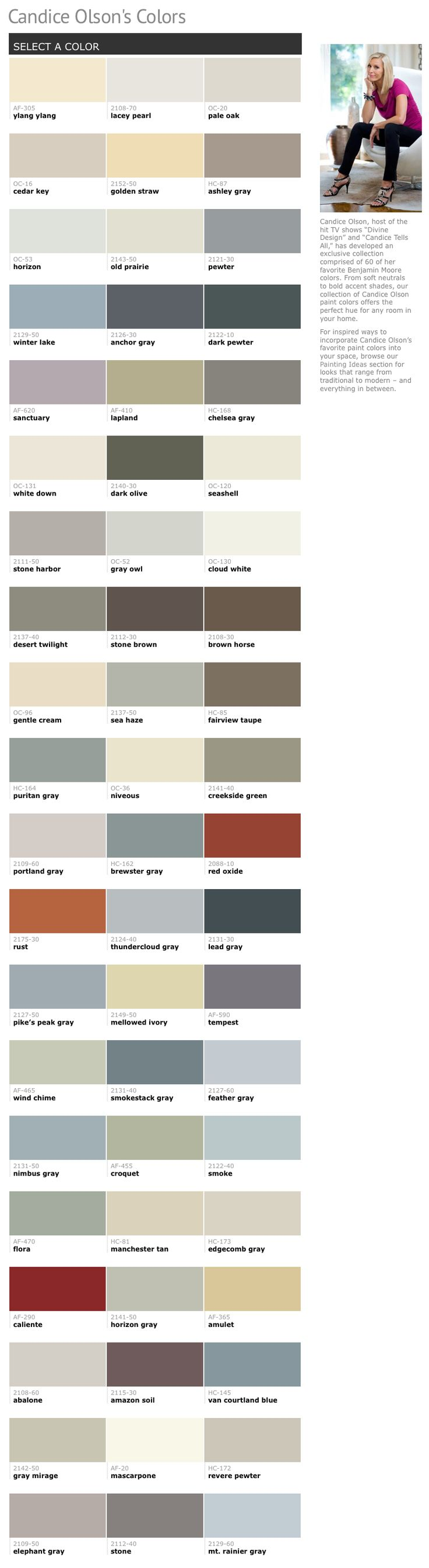 60 Of Candice Olsons Favorite Benjamin Moore Paint Colors Interiors By Color