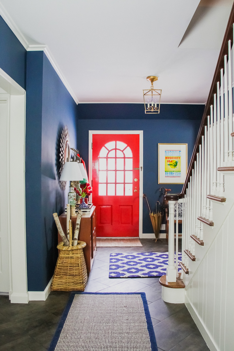 Blue And Red Entrance Painted In Benjamin Moore Washington Blue Interiors By Color