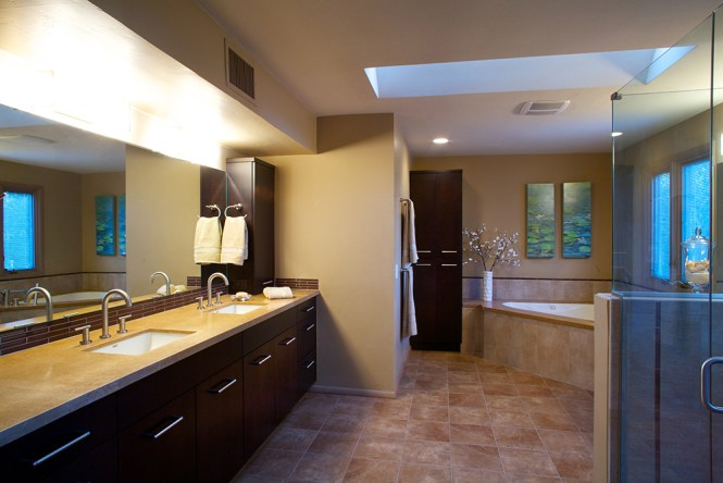 free master bath remodel with ebony stained bellmont alder cabinets accented danze fixtures bathroom remodel tucson