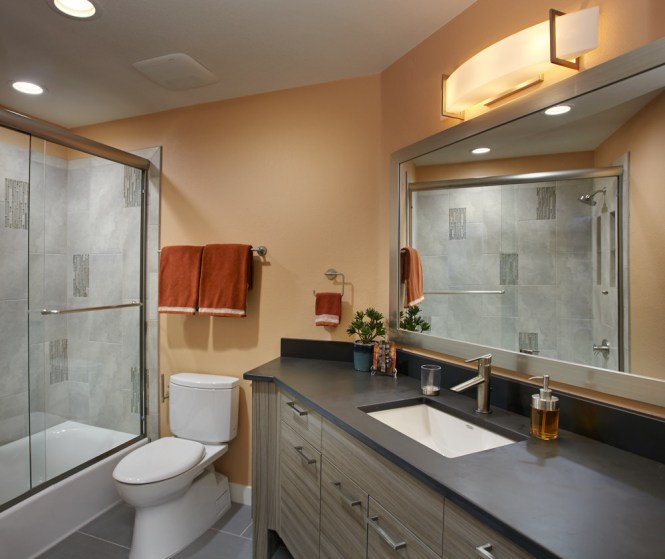 hall bath condo located in tucson arizona hip modern simple clean lines linear shower wall