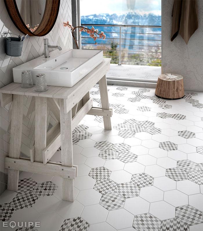 hexagonal floor tiles by equipe