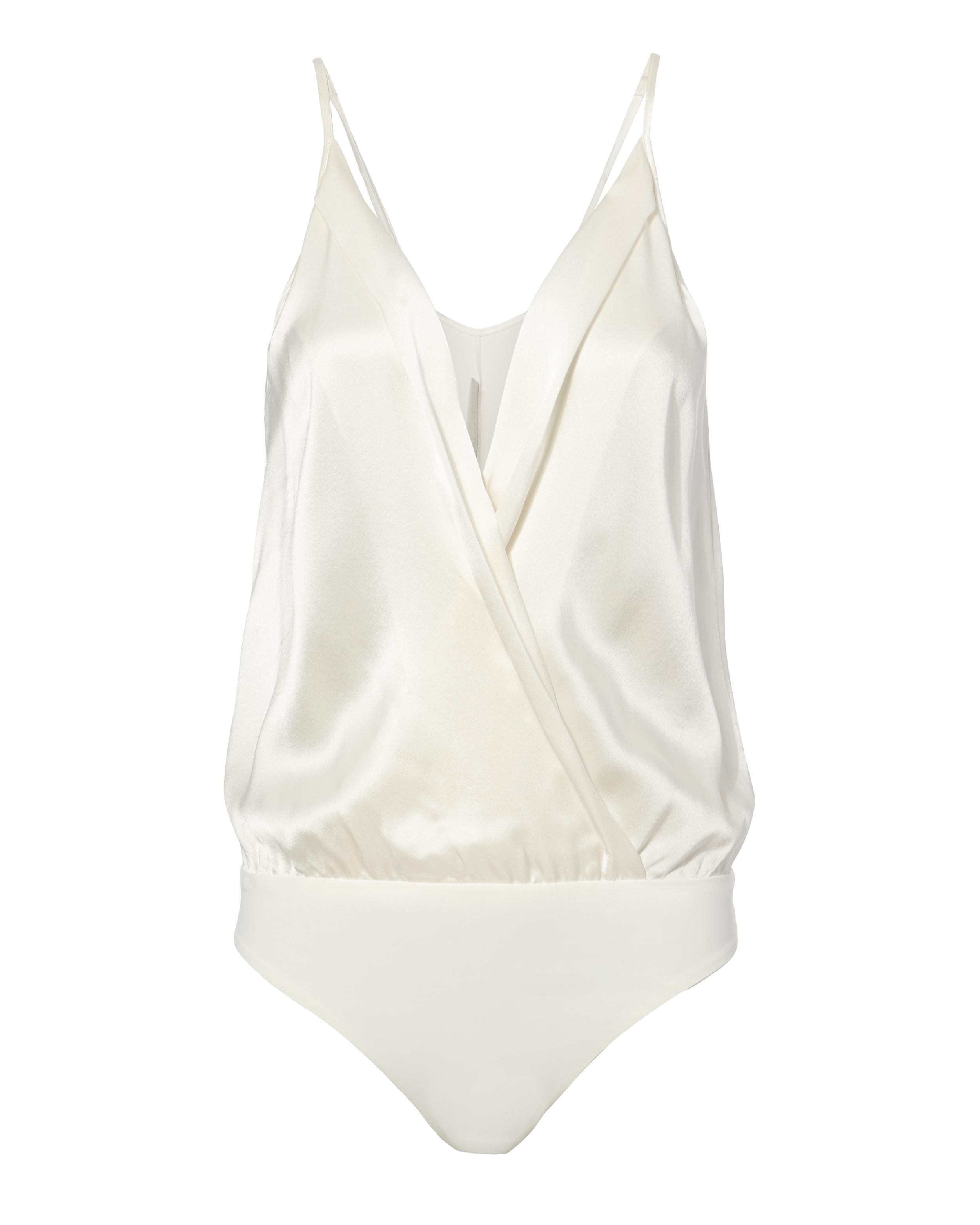Silk Cami Cross Front White Bodysuit