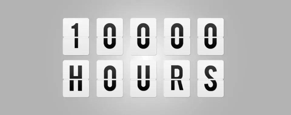 Odómetro que señala la regla de las 10000 horas