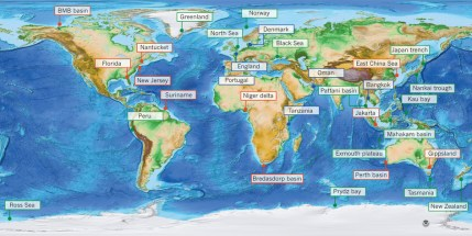 Figure 1: World map of topography and bathymetry showing known occurrences of fresh and brackish offshore groundwater.