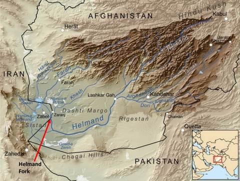 Figure 1. Sistan Wetlands and Helmand Basin (Source: Wikipedia Maps)