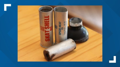 No law enforcement agency admits to using tear gas Monday, but tear gas canisters were found at the scene