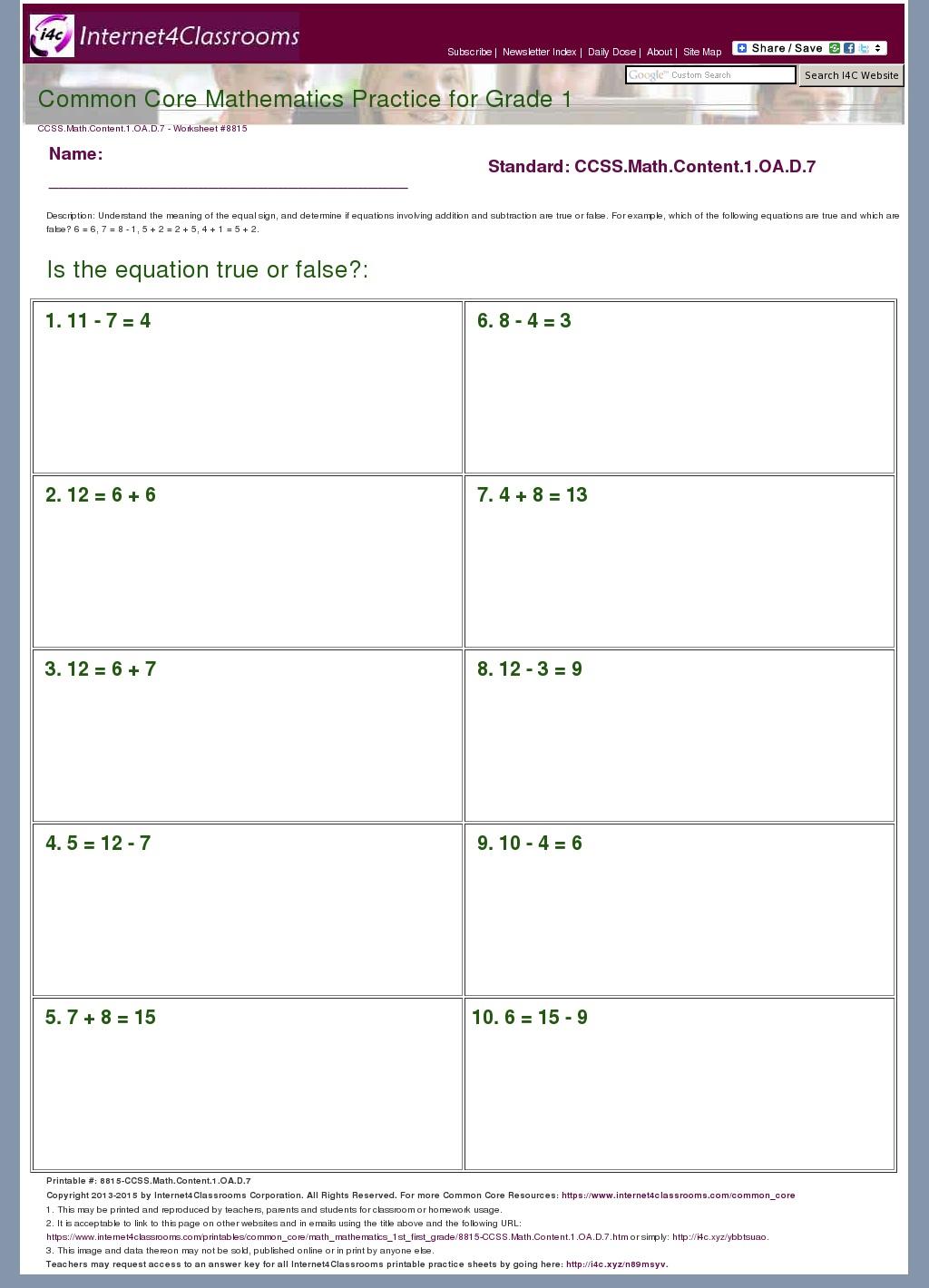 Oa Worksheets Grade 1