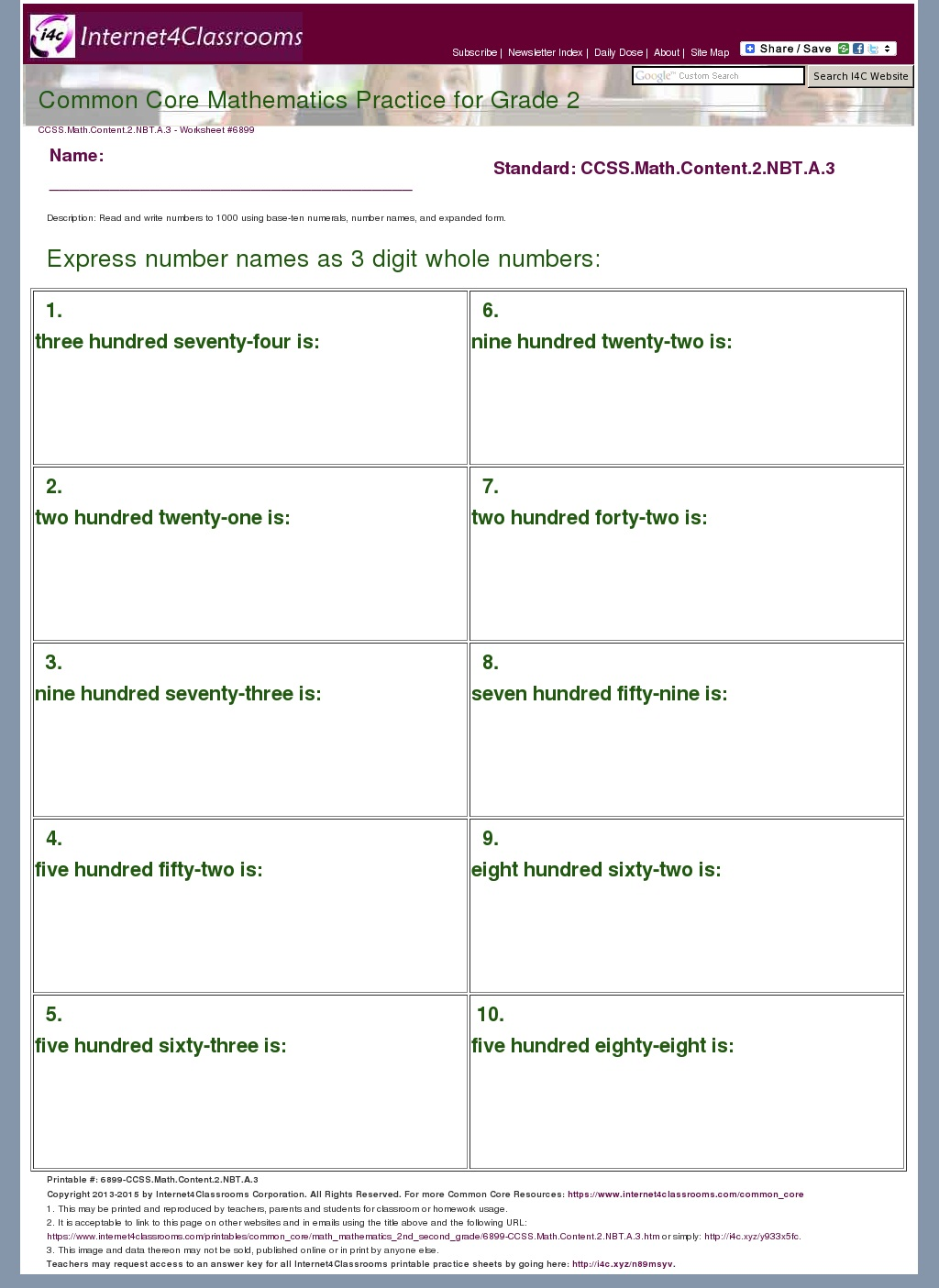 Base Ten Numerals Worksheet