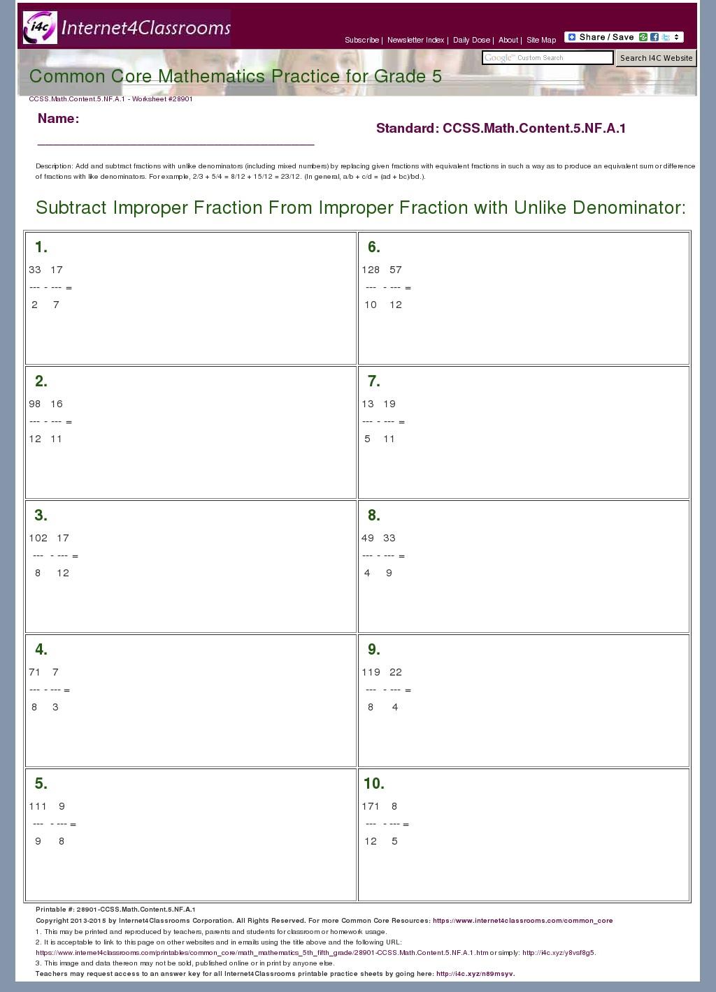 Unlike Denominator Fraction Worksheet For Grade 5