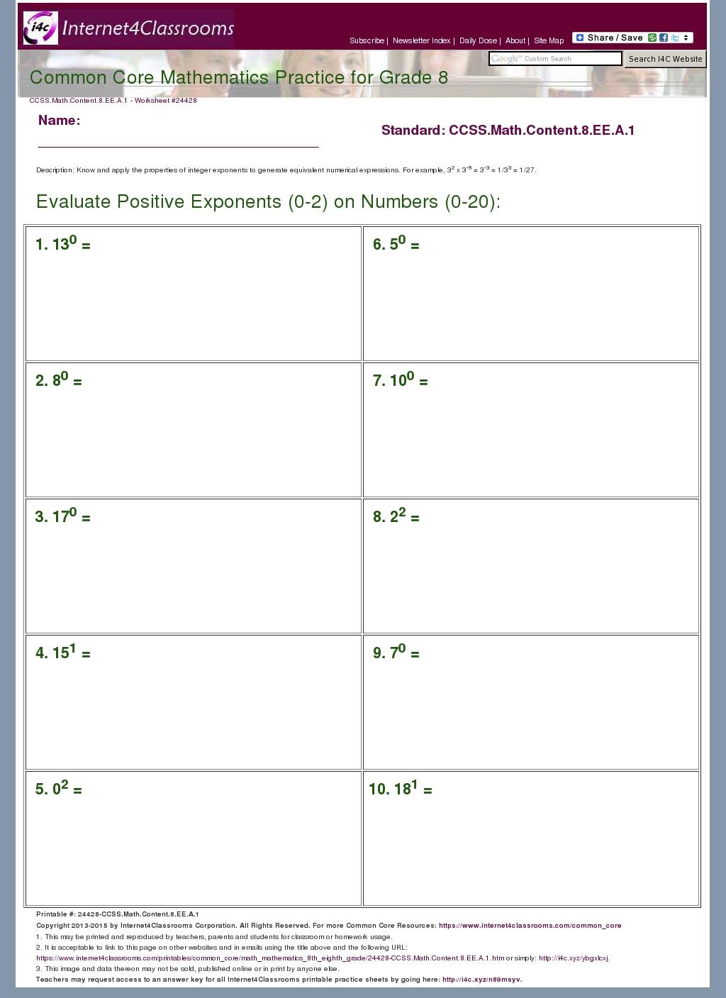Common Core Standards Mathematics Worksheet 7th Grade
