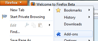 Firefox add-ons menu