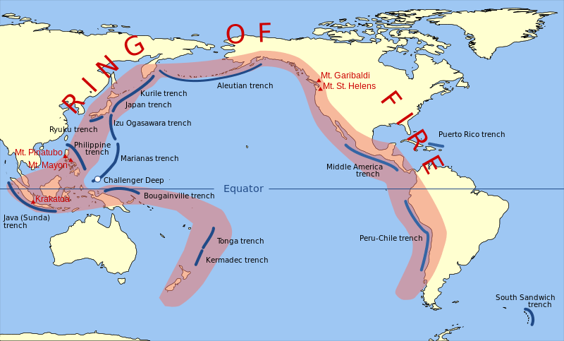 A map to show the Pacific Ring of Fire