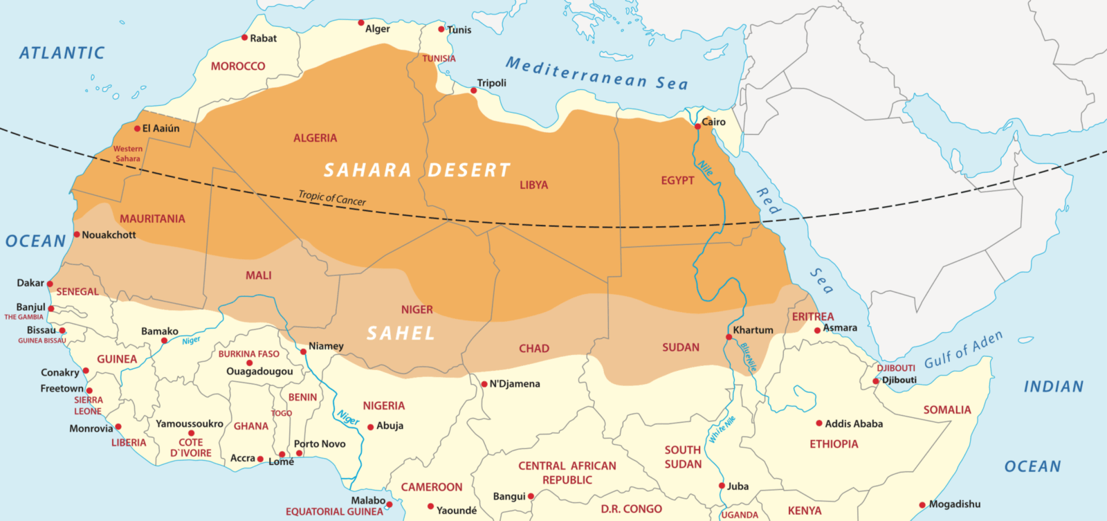 A map to show the location of the Sahara Desert in North ...