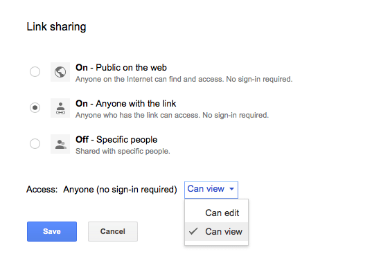 Link sharing options