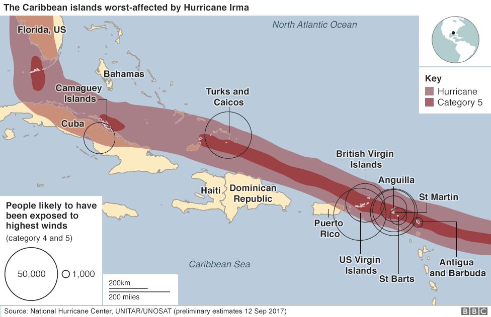 Hurricane Irma - the path of destruction