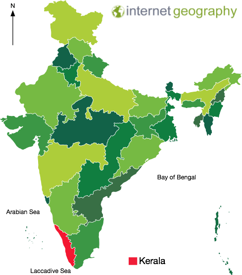 A map to show the location of Kerala