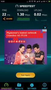 Ooredoo 4G Speedtest Myanmar