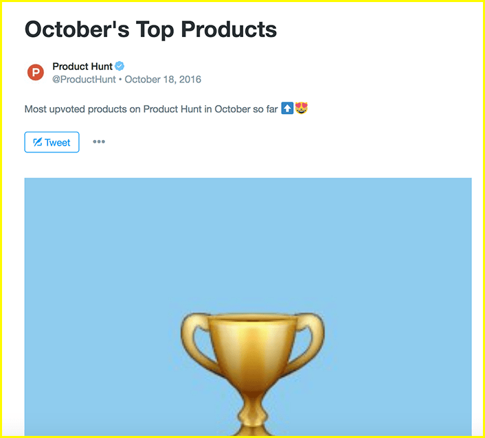 Twitter moments @ProductHunt