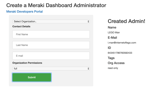 Meraki Admin Form Node-RED screenshot