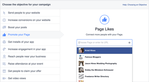facebook page like ad creation