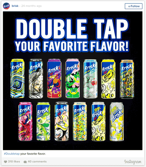 brisk double tap instagram